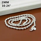 """Men's 2mm 925 Silver Twisted Wrest Rope Chain Necklace Choker Jewelry 16-30"""""""