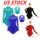 US Women Lace Gymnastic Figure Ice Skating Dress Leotard Ballet Dance Costume