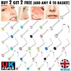 Nose Studs Straight I L Screw Shape Silver Gold Set Surgical Steel Pin Piercings
