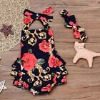 Newborn Infant Baby Girl Floral Romper Bodysuit Jumpsuit Headband Outfit Clothes