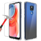 For Motorola Moto G Play 2021 Shockproof Clear TPU Armor Case + Tempered Glass