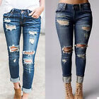 Women High Waist Ripped Denim Jeans Pencil Casual Pants Skinny Stretch Trousers