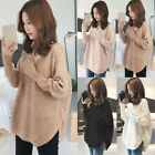 Womens Winter Warm Sweater Tops Ladies V Neck Jumper Pullover Knit Top Plus Size