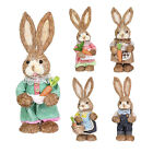 32cm Straw Rabbit With Pick Home Decoration Easter Bunny Statue Ornaments