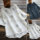 Women Ethnic Embroidery Tops Shirt Summer Casual Crew Neck T-Shirt Blouse Tee US