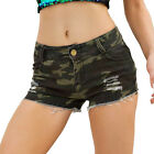 Womens Summer Ripped Camouflage Denim Shorts Casual Beach Holiday Short Hotpants