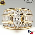 Yellow Gold Plated Women Ring White Sapphire Wedding Ring Size 6-10