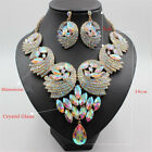 Chunky Crystal Choker Necklace Earrings Set Party African Bridal Women Jewellery