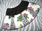 NEW COOL Baby Girls Black,White,Pink,Yellow Check Mr Men Skirt,Gift,Party,Rock