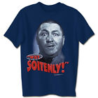 Three Stooges Why Soitenly Blue Adult T-Shirt