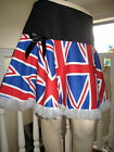 NEW Black White Red Blue Union Jack GB Frilly A Line Skirt All sizes England