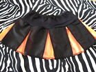 Mini Girls Black,Orange Halloween Cheerleader Skirt