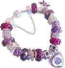 DARK PURPLE & SILVER LADIES CHARM BRACELET 'SPELLBOUND'