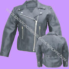 LADIES WOMENS BLACK COWHIDE LEATHER MOTORCYCLE JACKET COAT SIZES S-5X