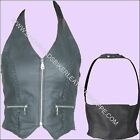 LADIES WOMENS LEATHER HALTER TOP VEST with CLOTH BACK CLUB BIKER RALLY