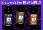 MRS BROWNS BOYS BEER LABEL party birthday gift choice 3 col LARGE or SMALL X2 X6