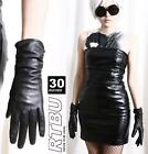 30cm Above Wrist Genuine Leather Runway Fashion Gathered Ruched Slouchy Gloves