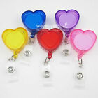 New 5 Pcs Reels Retractable Badge Clip ID Card Holder Heart Love Clear 5 Color
