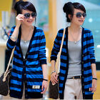 Casual Womens Striped Cardigan Knit Tops Outerwears Long Sleeves Buttons Sweater