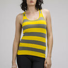 Yellow Sleeveless Super Casual Seamless Sport Stretch Striped Racerback Tank Top