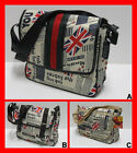 FREE UK P/P Union Jack GB Newspaper Print Record Shoulder Messenger Satchel Bag