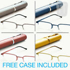 NEW READY READING GLASSES SEMI-RIMLESS & TUBE CASE - VARIOUS STRENGTHS/COLOURS