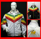 RARE - RASTA Rastafari Lion of Judah Zip Up Track Jacket  White Black + 3 Stripe