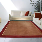Red Modern Area Rug Contemporary Heavy Weight Solid Border Carpet