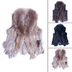 High quality Winter real Farms rex Rabbit Fur Waistcoat Vest Raccoon collar