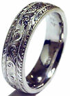 BRAND NEW! MEN'S HAND ENGRAVED 14K WHITE GOLD WEDDING BAND RING 6MM SIZE 8-11.75