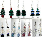 Chrismas Xmas Tree Earrings Sterling 925 Silver made with SWAROVSKI ELEMENTS