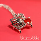 CUTE SILVER HEART LOVE BENCH NECKLACE RED RHINESTONE VALENTINE CHARM KISS CUPID