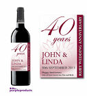 PERSONALISED 40th RUBY WEDDING ANNIVERSARY WINE or CHAMPAGNE LABEL
