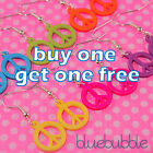 FUNKY SMALL PEACE SIGN EARRINGS CUTE HIPPY KITSCH LOVE FESTIVAL EMO RETRO BOHO