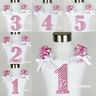 White Pettitop Top Sparkle Birthday Number Age 1ST 2ND 3RD 4TH 5TH Hot Pink Dots