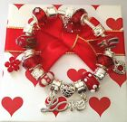 ladies mum red gold  love heart charm bracelet in matching gift box Fast Deliv