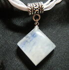 moonstone focal cab cord necklace great color flash kite diamond shape USA made