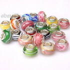 Bulk Colorful Stripe Style Charms Lampwork Big Hole Beads Fit European Bracelets