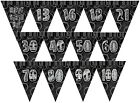 BLACK/SILVER GLITZ - PRISMATIC TRIANGLE 12' BUNTING (Birthday Party Decorations)