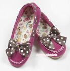 Hot Pink Brown White Dot Lacing & Bow Casual Wear Deck Shoes for Kids Girl SE003