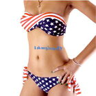 New Arrival Sexy Lady's Padded Twisted Tie Side Bikini AMERICAN US Flag Swimsuit