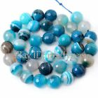 6, 8, 10, 12, 14MM FACETED ROUND BLUE BANDED AGATE GEMSTONE BEADS STRAND 15""