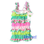 Green Lime Hot Light Pink Lace White Bow Petti Rompers Romper NB-3Y