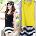 Women Lady Sexy Strip Splicing Dress Slim Sleeveless Summer Dresses