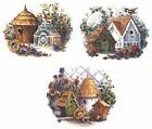 3 Country Birdhouse Flower Trellis Select-A-Size Waterslide Ceramic Decals Tx image