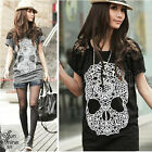 Korean Women Skull Prints Sexy Lace Sleeve Blouses Cool Tops Loose T-Shirt S M L