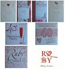 RUBY WEDDING ANNIVERSARY Party INVITATIONS & Envelopes {Fixed £1 UK p&p}(RA PI)