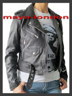 Maya-London Designer Look Black Naked Aniline Leather Biker Jacket 8,10,12,14,16