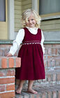 New Adorable holiday burgundy dress and embroidered blouse 17026