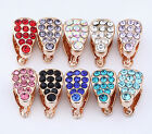 30pc Rose Gold Plated Crystal Pinch Bail 11mm BC133